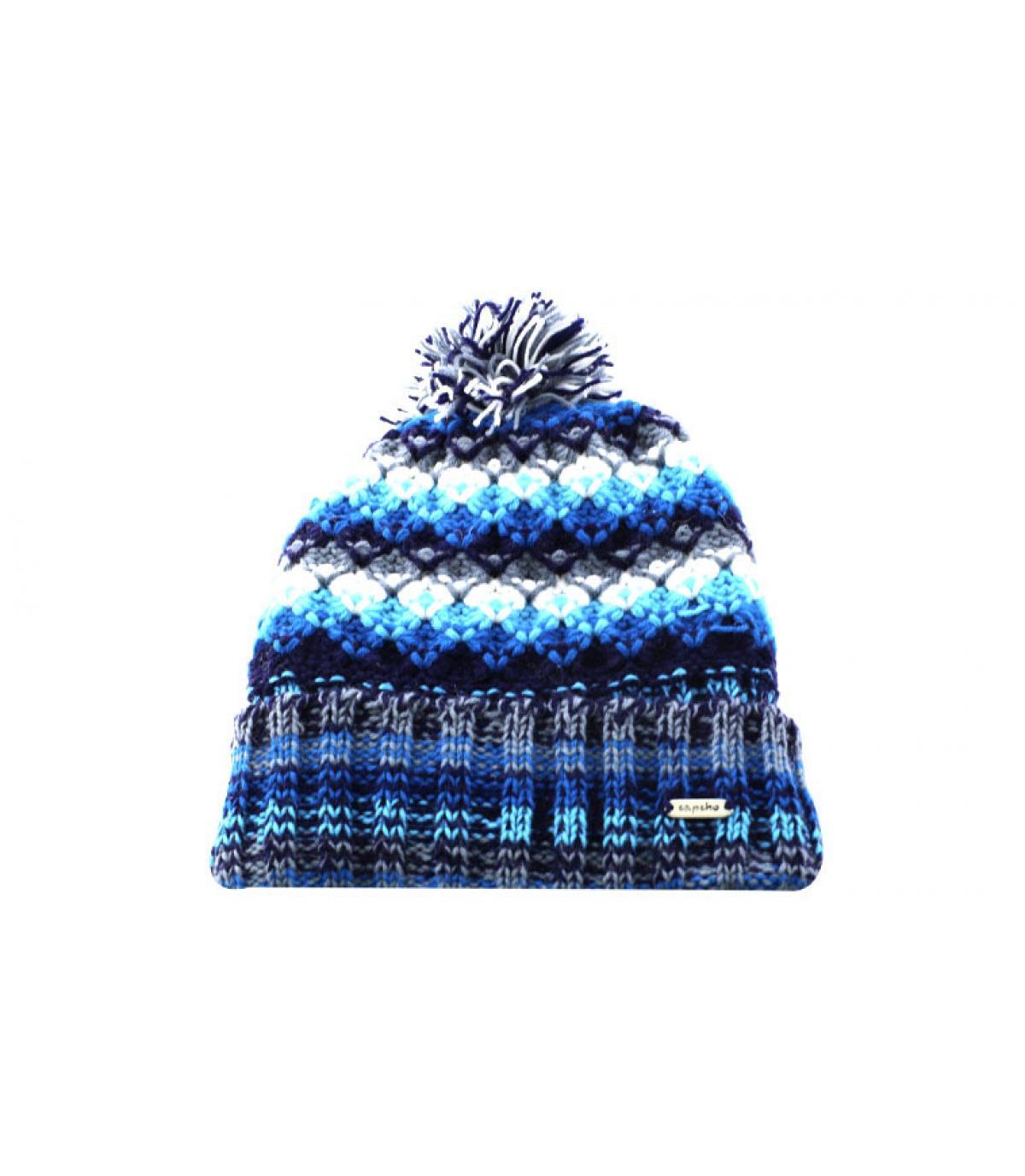 bonnet pompon bleu blanc