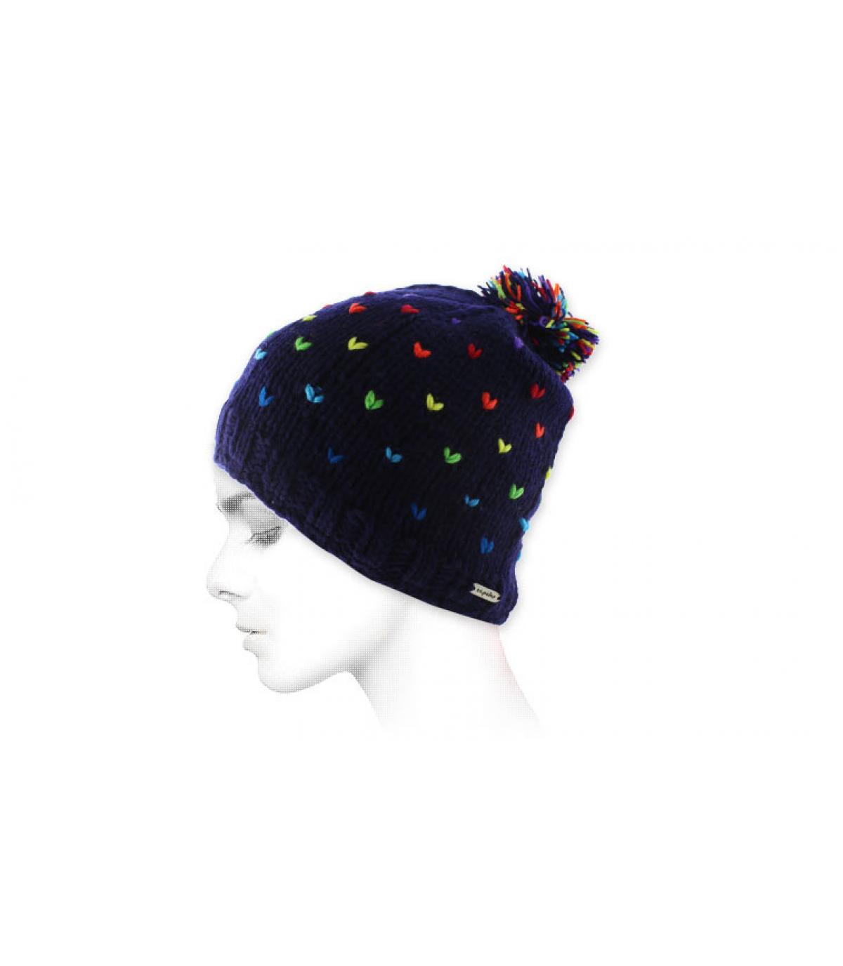 bonnet pompon bleu multicolore