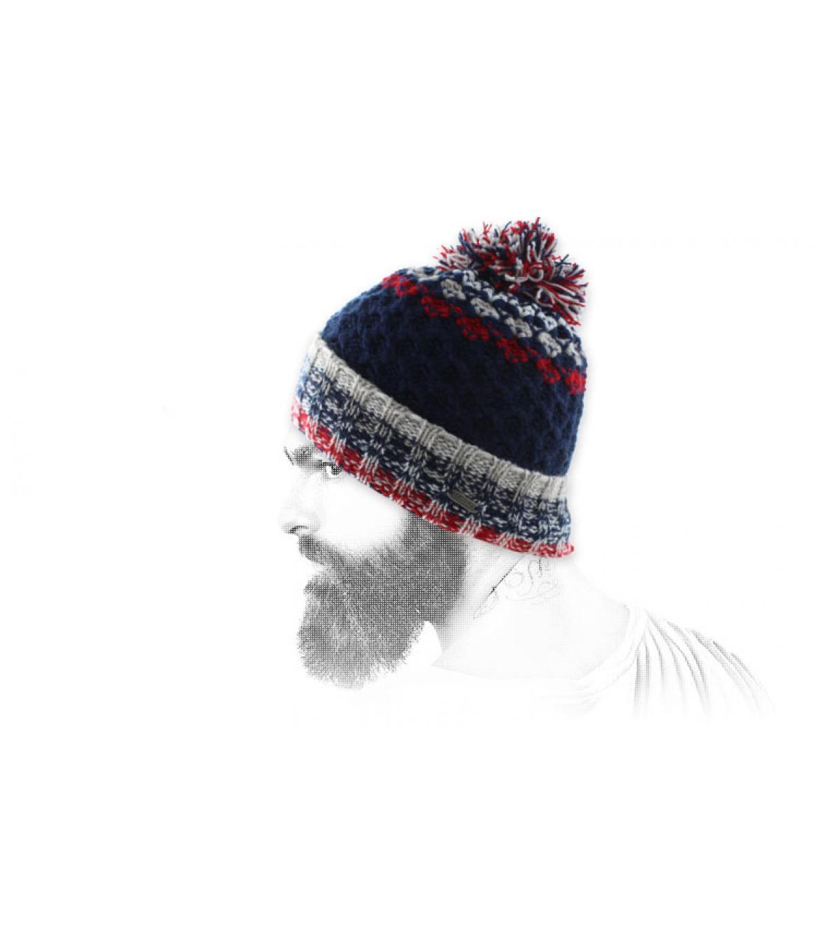bonnet rétro pompon bleu rouge