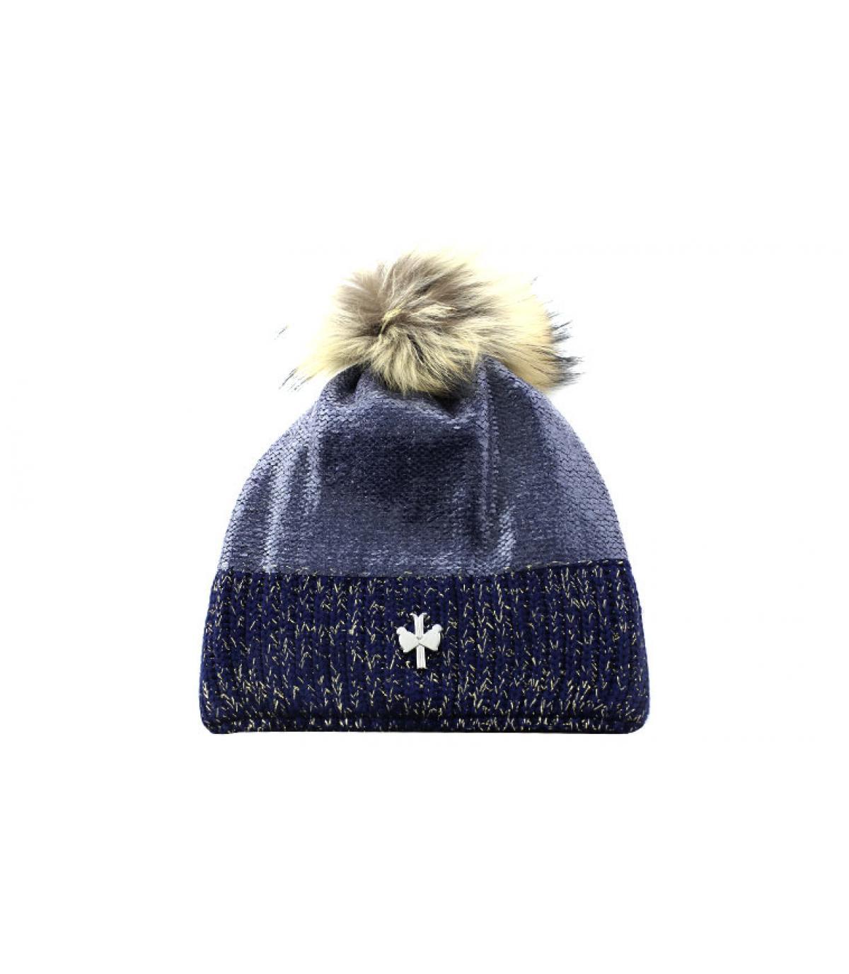 bonnet pompon fourrure bleu