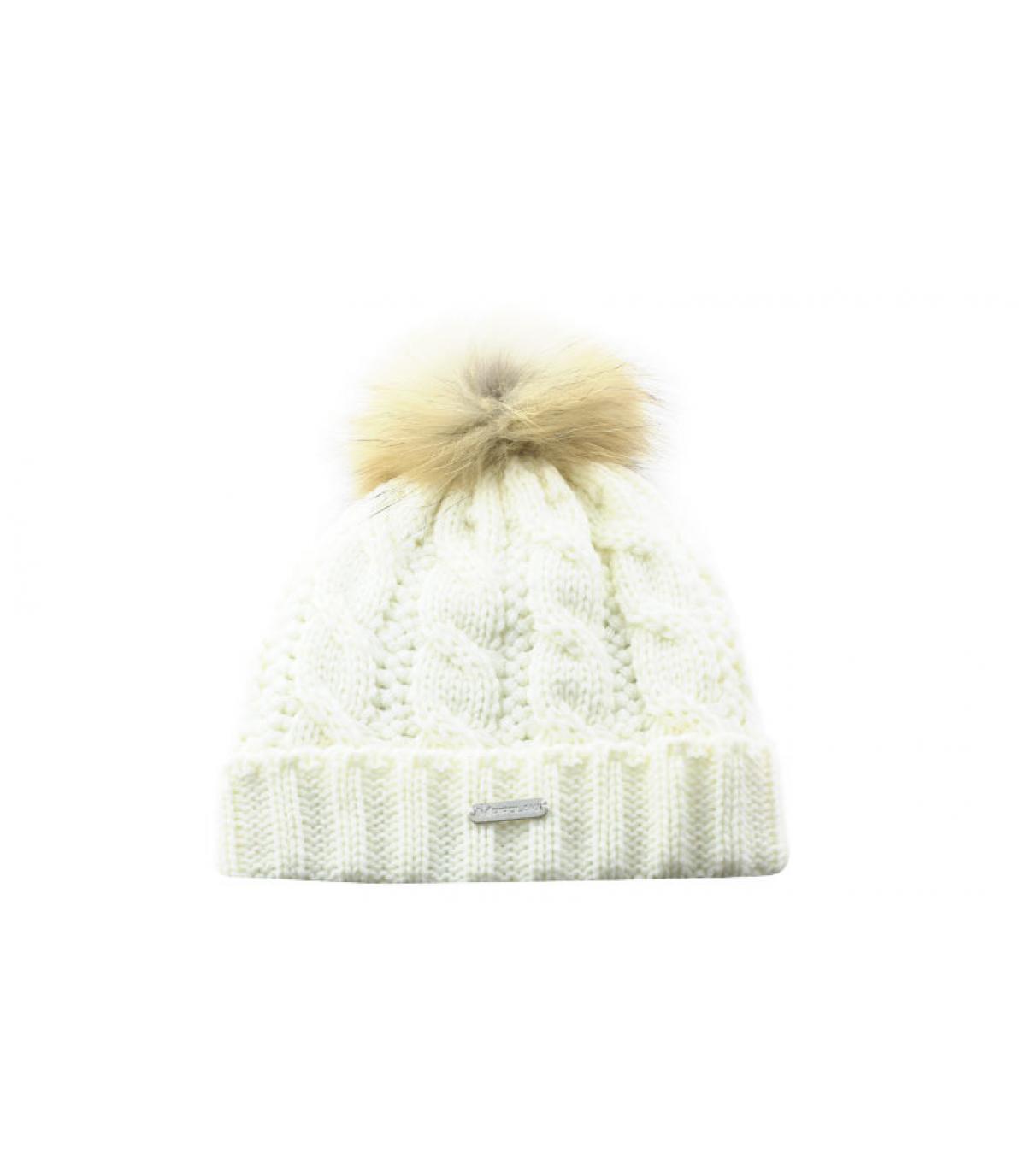 bonnet blanc torsades pompon
