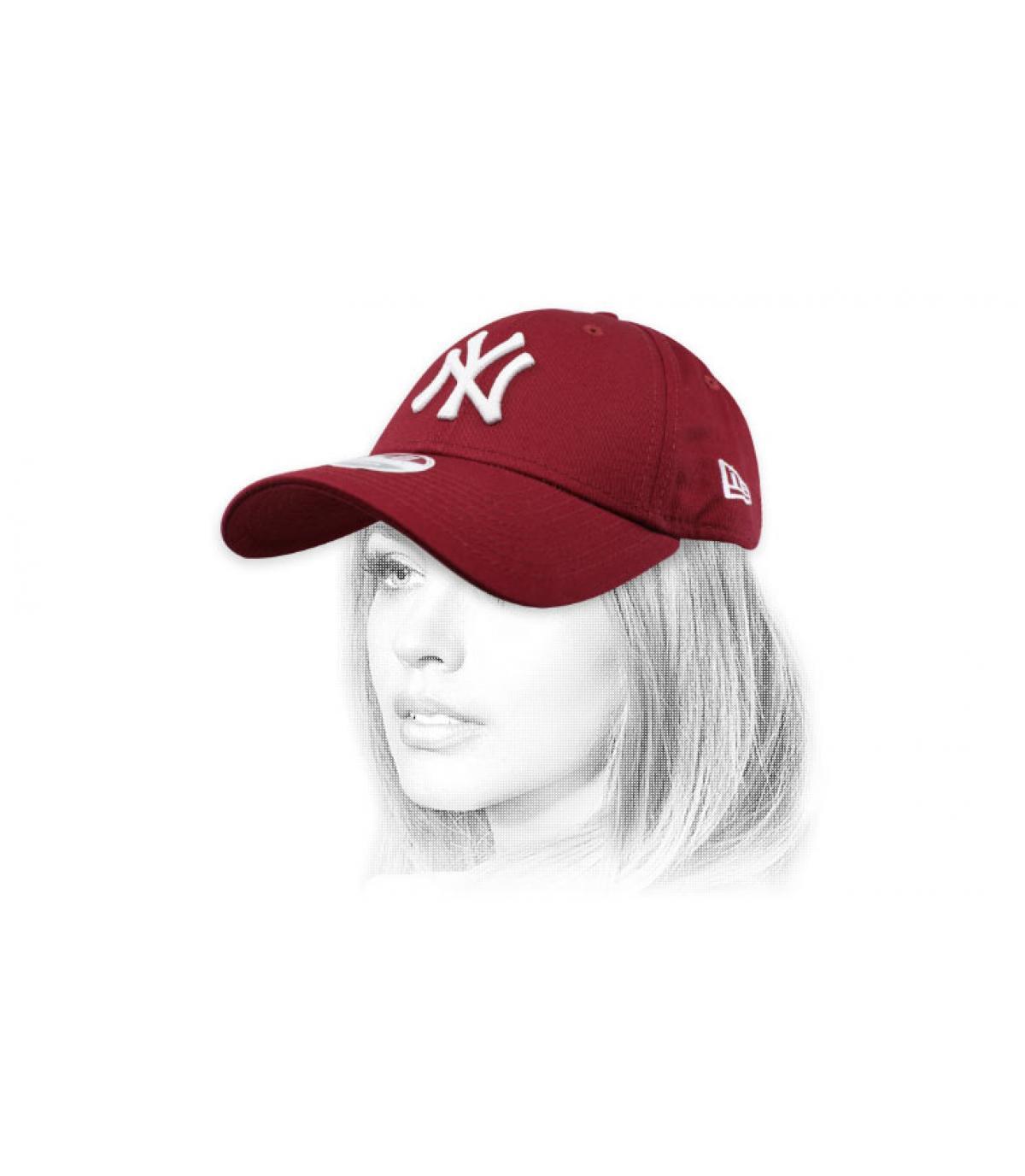 casquette femme NY bordeaux